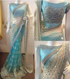 Want to know about the best Latest Elegant Designer Indian Sari and items such as Classic Saree also Bollywood saree in which case CLICK Visit link above for more details Trendy Sarees, Stylish Sarees, Fancy Sarees, Party Wear Sarees, Saree Blouse Patterns, Saree Blouse Designs, Net Saree Designs, Sky Blue Saree, Modern Saree