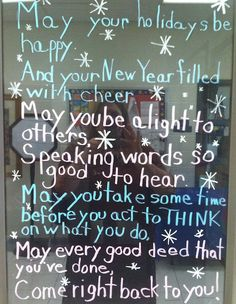 Created this Social Skills holiday greeting today and wrote it in chalk markers on my door. Teachers liked the message, but were more amazed that I could write backward!