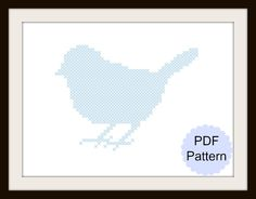 Sparrow Silhouette Cross Stitch Pattern by StephanieXStitches on Etsy