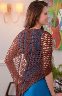 """Falling Leaves Shawl - This incredible shawl feels as wonderful as it looks thanks to the bamboo fiber. The center leafy panel is crocheted first and then side panels are added. You'll be loving it for all your travels, as it takes up little room. Bamboo Crochet Thread, Shawl = 85½"""" wide (measured straight across at widest) and 37""""  long (from back neck to lower point), after blocking."""