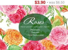 40% Sale /21-25June watercolor clipart. 20 items of flowers