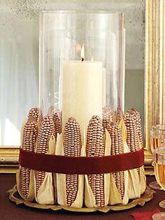 Indian corn is in abundance this time of year - use it to your advantage with a beautiful centerpiece.