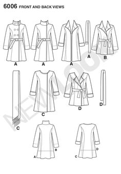 Womens forrado abrigo en dos longitudes patrón de costura 6006 New Look