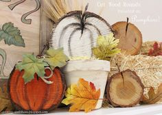 Painted Fall Pumpkins on Cut Wood Slices