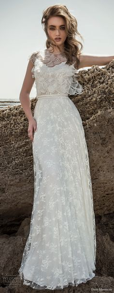 danny mizrachi 2018 bridal cap sleeves illusion jewel v neck full embellishment elegant column wedding dress (19) mv -- Dany Mizrachi 2018 Wedding Dresses