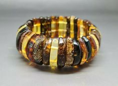 27,7 grams Genuine Natural Baltic Amber Bracelet No Enhancement Multicolor #Handmade