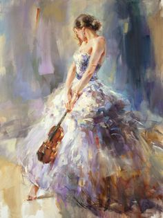 Flirting With A Violin 3 | Painting by Anna Razumovskaya
