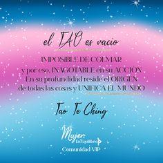 El #Tao es vacío imposible de colmar y, por eso, inagotable en su acción. En su profundidad reside el origen de todas las cosas y unifica el mundo. #TaoTeChing . #frasesinspiradoras #citadeldia #reflexiones #mujerenequilibrio #espiritualidad Reiki, Tao, Meditation, Chakras, Movie Posters, Movies, Inspiring Quotes, Affirmations, Spirituality