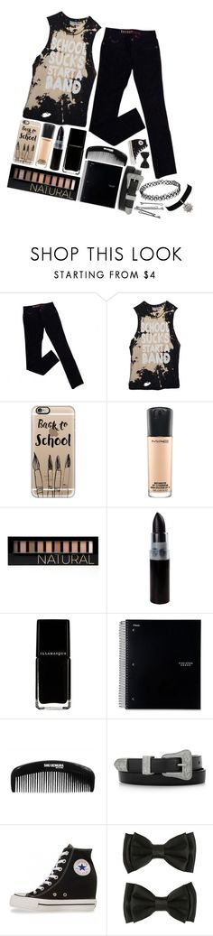 """""""~Start a band"""" by vampires-bridesmaid ❤ liked on Polyvore featuring GUESS, Casetify, MAC Cosmetics, Forever 21, Yves Saint Laurent, Converse and BOBBY"""