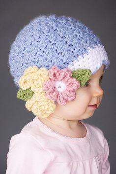 Crochet Beanie Ideas Ravelry: Bouquet Beanie pattern by Cyprianne Nolan - Crochet Kids Hats, Crochet Girls, Crochet Crafts, Crochet Projects, Baby Girl Beanies, Baby Girl Headbands, Crochet Beanie Pattern, Knit Crochet, Ravelry Crochet