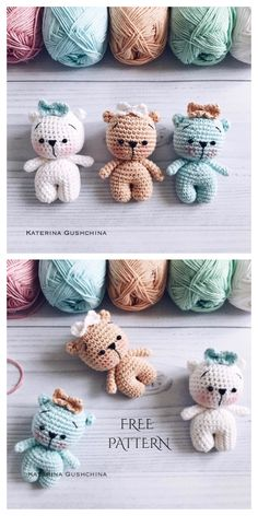 Crochet Amigurumi Free Patterns, Crochet Animal Patterns, Crochet Dolls, Crochet Teddy Bear Pattern Free, Crochet Gifts, Cute Crochet, Tiny Teddies, Diy Accessoires, Yarn Crafts
