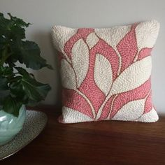 Handmade punch needle pillowcase, simple and elegant blush pink, cream and gold leaf pattern LISTING for *PILLOWCASE ONLY Punch Needle Patterns, Batik, Punch Art, Rug Hooking, Blush Pink, Blush Rosa, Hand Embroidery, Weaving, Shops