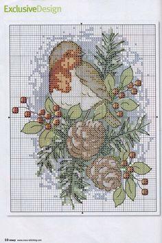 ~ Quail w/ Pinecones ~ Gallery.ru / Фото #1 - Cross Stitch Crazy 131 рождество 2009 - tymannost