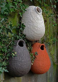 in three color versions - Mara Ceramic Birds, Ceramic Flowers, Ceramic Pottery, Ceramic Art, Bird House Feeder, Bird Feeders, Concrete Sculpture, Concrete Crafts, Pottery Sculpture