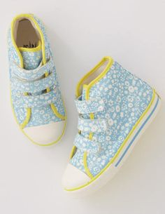 Canvas High Top Shoes, light blue and yellow | Boden