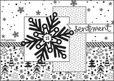 snowflake stamp on top, Christmas paper on bottom. Scrapbook Templates, Scrapbook Sketches, Card Sketches, Scrapbook Cards, Card Templates, Sketch 4, Christmas Cards To Make, Xmas Cards, Christmas Paper