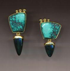 Jeff and Susan Wise | Artist cut Turquoise set in 18k gold with free floating pendants of Tourmaline.