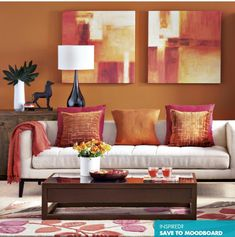 Exceptional Color Scheme ❤   Paprika And Beige Living Room. This Exotic Shade Of Orange  Adds A Touch Of Bohemian Chic To This Living Room. Dark Accessories And  Mango ...
