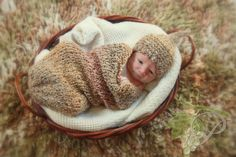 Knit Cocoon - Brown Variegated Sac / Cocoon / Wrap for Newborn Baby Photography Prop. $33.00, via Etsy.