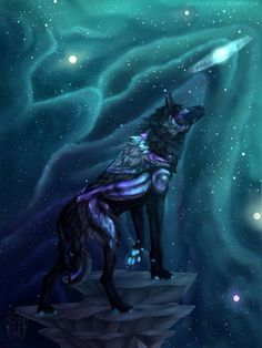 Pin By Blake Spoede On Animal Art 1 In 2019 Wolf Artwork 29 Black Wolf Galaxy Wallpapers On Wallpapersafari. Fantasy Wesen, Fantasy Wolf, Fantasy Art, Cute Fantasy Creatures, Mythical Creatures Art, Galaxy Wolf, Galaxy Anime, Galaxy Art, Anime Wolf Drawing