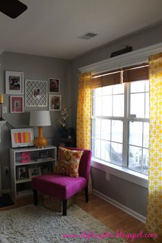 Pink, Yellow, White and Gray Living Room. Maybe without the pink though