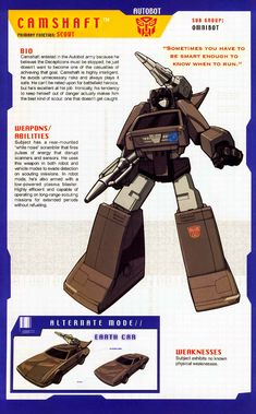 Transformer of the Day: Camshaft Transformers Characters, Transformers Movie, Transformers Drift, Gi Joe, Nemesis Prime, Transformers Generation 1, Transformers Cybertron, Transformers Masterpiece, Classic Cartoons