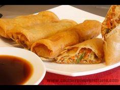 ROLLITOS DE PRIMAVERA I RECETAS DE COCINA - YouTube Estilo Thai, Wok, Salsa, Snack Recipes, Snacks, Chinese Food, Chips, Appetizers, Cooking