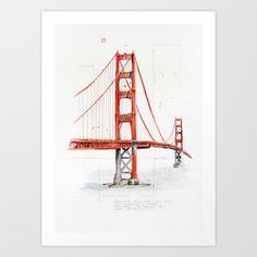 Golden Gate Bridge Art Print by digiartpicture - $20.80