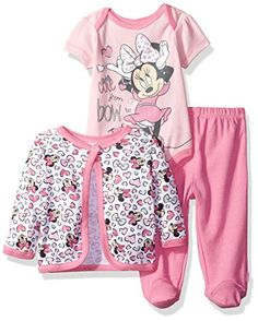 Baby Girl Clothes Disney Baby Girls' Minnie Mouse Bodysuit, Footed Pant, and Jacket Set, Pink, Months Disney Outfits Girls, Disney Baby Clothes, Baby Clothes Online, Newborn Girl Outfits, Baby Disney, Toddler Outfits, Boys And Girls Clothes, Baby Kids Clothes, Doll Clothes