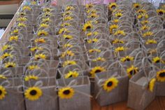 Sunflower party favor bags for your fall wedding | Autumbless - Wedding on ArtFire