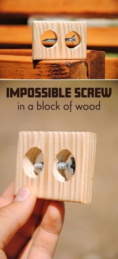Wood block crafts - Impossible Screw in a Block of Wood Wood Projects That Sell, Small Wood Projects, Scrap Wood Projects, Woodworking Projects Diy, Woodworking Furniture, Woodworking Plans, Furniture Plans, Diy Furniture, Cool Ideas