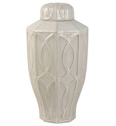 Treillage Large Ginger Jar - White | Scenario Home
