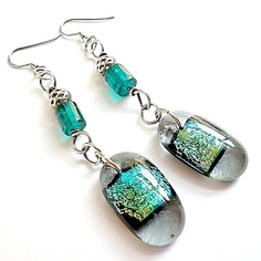 Dichroic Glass Earrings/Fused Glass Earrings/Dangle Earrings/French Hook Earrings/ Grey and Green. $19.00, via Etsy.