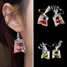 Buy Novelty Women Girls Goldfish Water Bag Shape Dangle Hook Earrings Charm 1 Pair at Wish - Shopping Made Fun Cute Jewelry, Body Jewelry, Jewelry Gifts, Jewelery, Bridal Jewelry, Ear Jewelry, High Jewelry, Jewelry Box, Jewelry Accessories