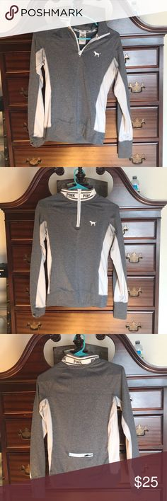 VS Pink grey athletic sweatshirt stretchy material, good condition, phone zipper on back, turtleneck (zipper too), comfortable, thumb holes PINK Tops Sweatshirts & Hoodies