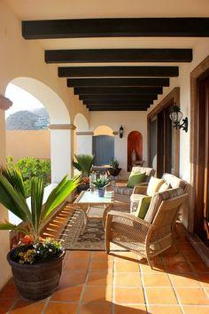 mediterranean patio ideas tile floor ceiling beams