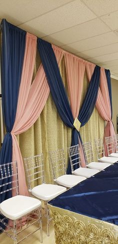Dusty Rose/ Navy Blue and gold! Dusty Rose/ Navy Blue and gold! Navy Blue And Gold Wedding, Gold Wedding Theme, Pink And Gold, Wedding Colors, Wedding Ideas, Blue Wedding Decorations, Quince Decorations, Gold Backdrop, Rose Gold Decor