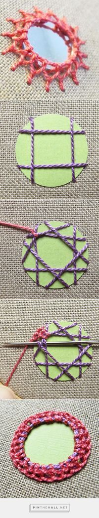 """#Embroidery_Tutorial -- """"Add Mirrors to Embroidery or Knitted/Crocheted Garments With Stunning Shisha Stitches. Full photo and text tutorial at Craftsy."""" Enjoy from #KnittingGuru"""