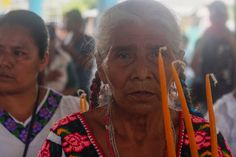 An old woman who participated in the celebration of the seed in the Huasteca region of Mexico.