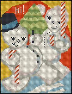 Christmas Snow Family Needlepoint or Cross Stitch Digital Pattern at: https://www.etsy.com/listing/480663059/retro-snowman-couple-digital-needlepoint?ref=shop_home_active_7