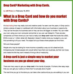 Drop Card, how to do marketing with drop cards