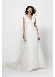 GORGEOUS LACE ORGANZA SATIN A-LINE V-NECK NECKLINE WEDDING DRESS LACE BRIDESMAID PARTY COCKTAIL GOWN