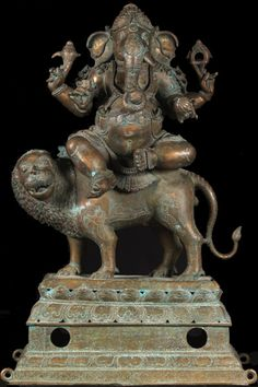 View the Bronze Ganesh Statue Seated on Lion 41""