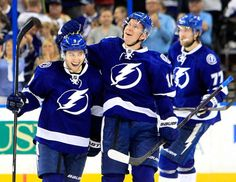 Tyler Johnson, Ondrej Palat, and Victor Hedman