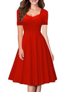 Hot Style Short Sleeve A-Line Pure Color Knee-Length Dress
