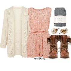 """""""Cute School Outfit"""" by natihasi on Polyvore - wish dress was little more younger and white leg earners for combat boot"""