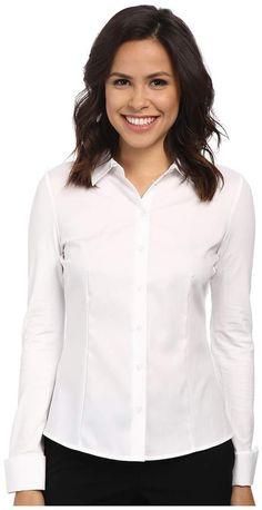 Calvin Klein Non-Iron Knit Back Blouse Women's Long Sleeve Button Up