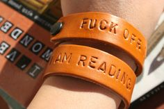 Reader's Leather Bracelet Poetry Jewelry by apoetsutensils