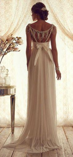 elegant beaded back chiffon dress for vintage wedding!!