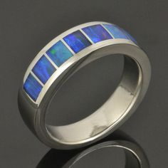 Australian Opal Ring in Stainless Steel by by TheHilemanCollection, $1480.00